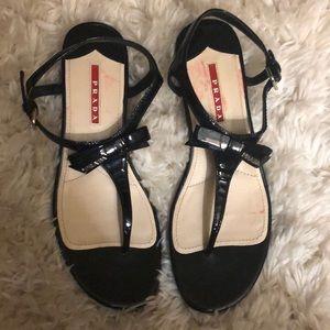 Prada Patent Demi-Wedge Thong Sandals